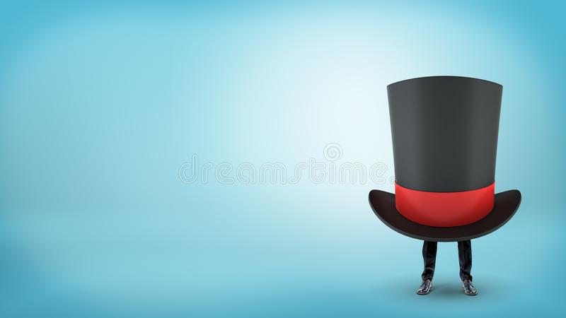 A giant black magician`s top hat with a red ribbon hides a businessman with only his legs visible. Hiding from creditors. Business tricks. Illusion of work stock photos