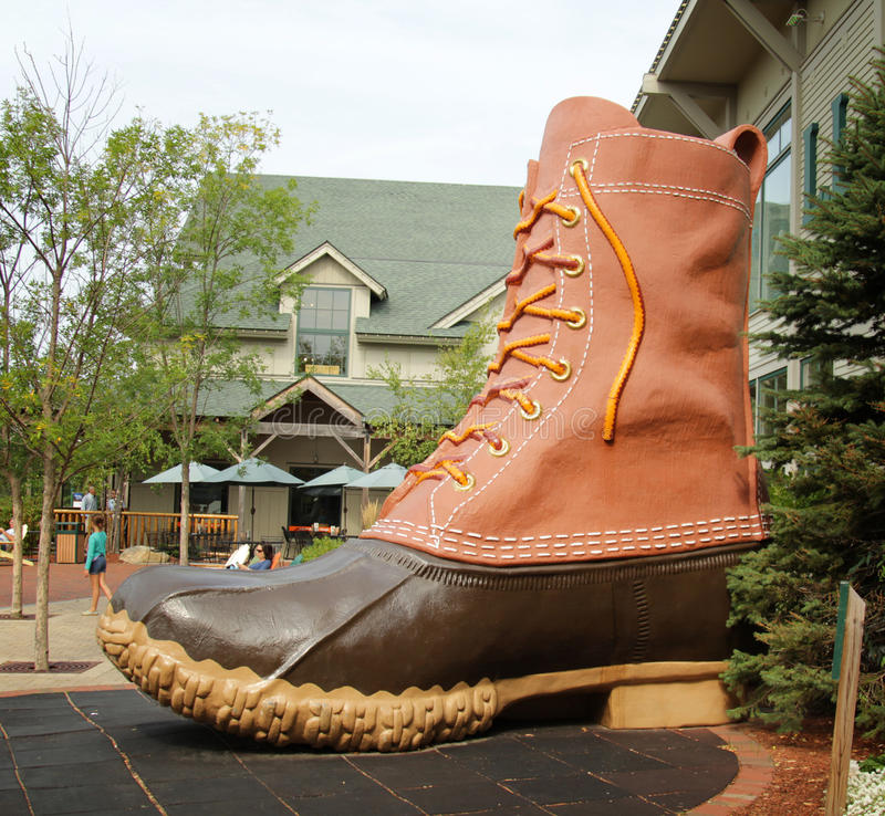 Giant boot. FREEPORT, MAINE, august 31 2014: L.L.Bean. boot at the entrance of this, leading merchant of quality outdoor gear and has been open 24 hours a day stock image