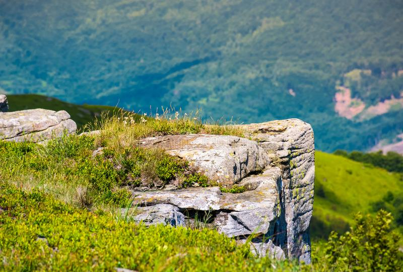Giant boulders on grassy slopes of Polonina Runa royalty free stock photos