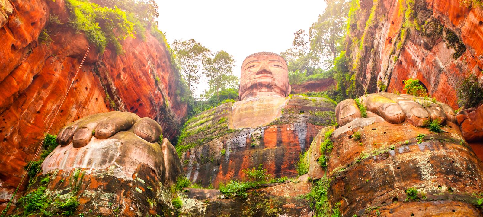 Giant Buddha in Leshan, Sichuan, China, view from bottom. Giant Buddha in Leshan, Sichuan, China, view from bottom royalty free stock images