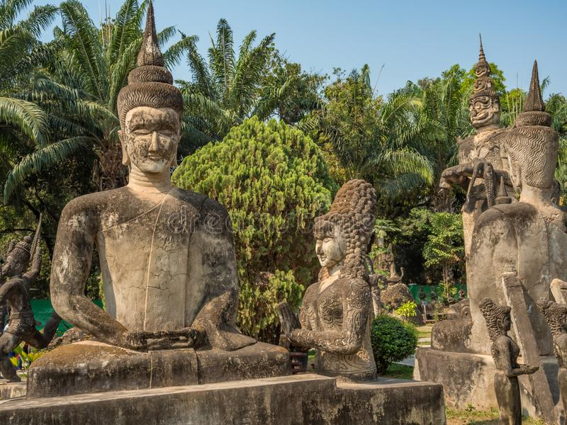 Giant Buddhist and Hindu statues, Xieng Khuan. Near Vientiane, L royalty free stock photo