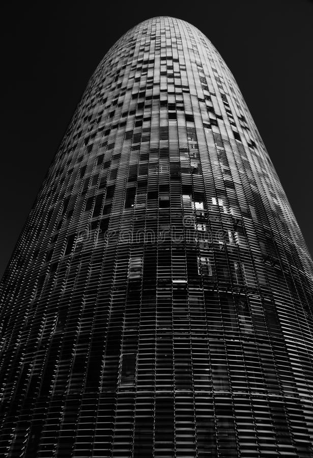 The giant bullet. Shot in black and white, a different view of this modern building set at the district 22@ Diagonal, set Barcelona, Catalunya, Catalonia, Espa stock photo