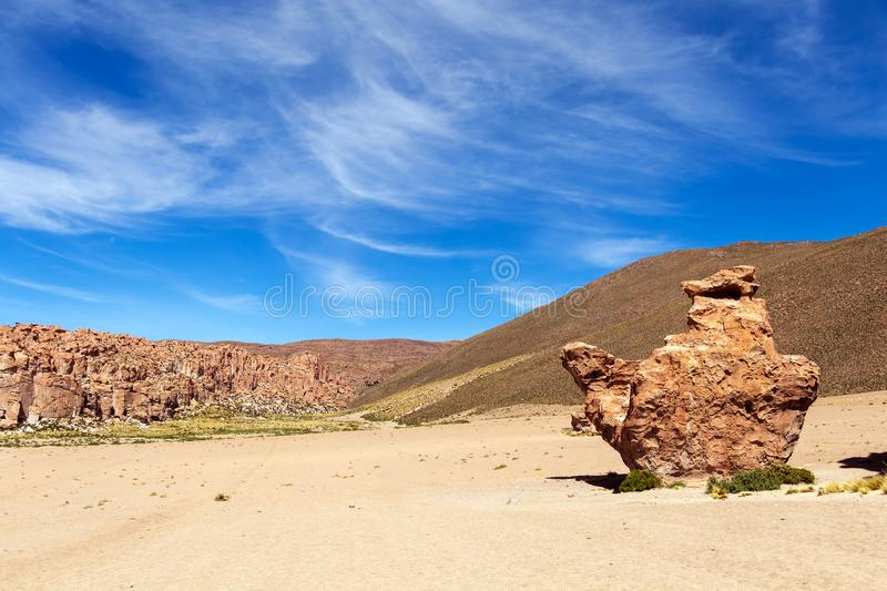 View on Camel rock formation in the Bolivean altiplano - Potosi Department, Bolivia. The Giant Camel Rock Formation in Italia Perdida, or Lost Italy, in Bolivean stock photo