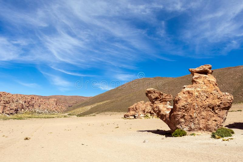 View on Camel rock formation in the Bolivean altiplano - Potosi Department, Bolivia. The Giant Camel Rock Formation in Italia Perdida, or Lost Italy, in Bolivean stock images