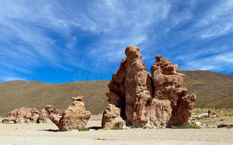 View on Camel rock formation in the Bolivean altiplano - Potosi Department, Bolivia. The Giant Camel Rock Formation in Italia Perdida, or Lost Italy, in Bolivean royalty free stock photos