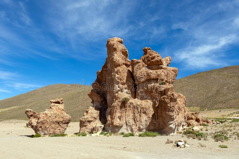 View on Camel rock formation in the Bolivean altiplano - Potosi Department, Bolivia. The Giant Camel Rock Formation in Italia Perdida, or Lost Italy, in Bolivean royalty free stock images