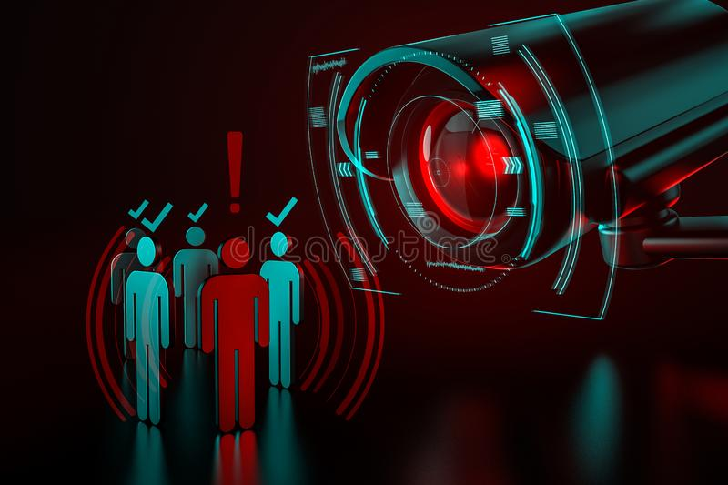 Giant camera checkes group of people as a metaphor of AI-driven artificial intelligence surveillance system taking control over royalty free stock photo