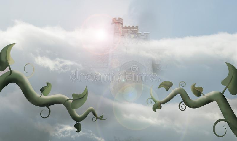 Giant castle gate. Beanstalk in front of giant castle gate in clouds stock illustration