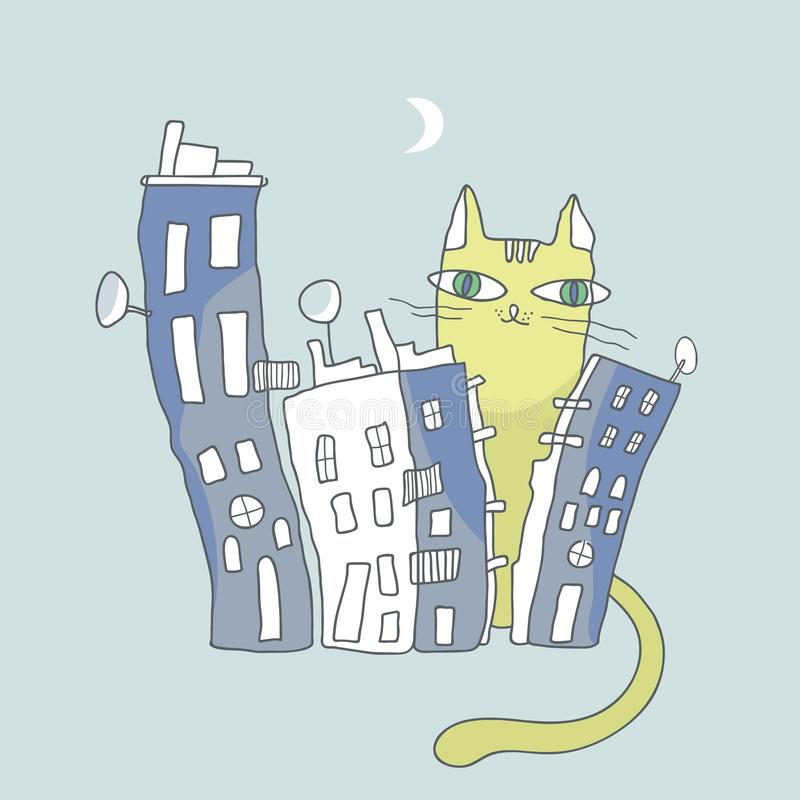 Download Giant Cat Watching Over City Condos Stock Vector - Image: 28935673