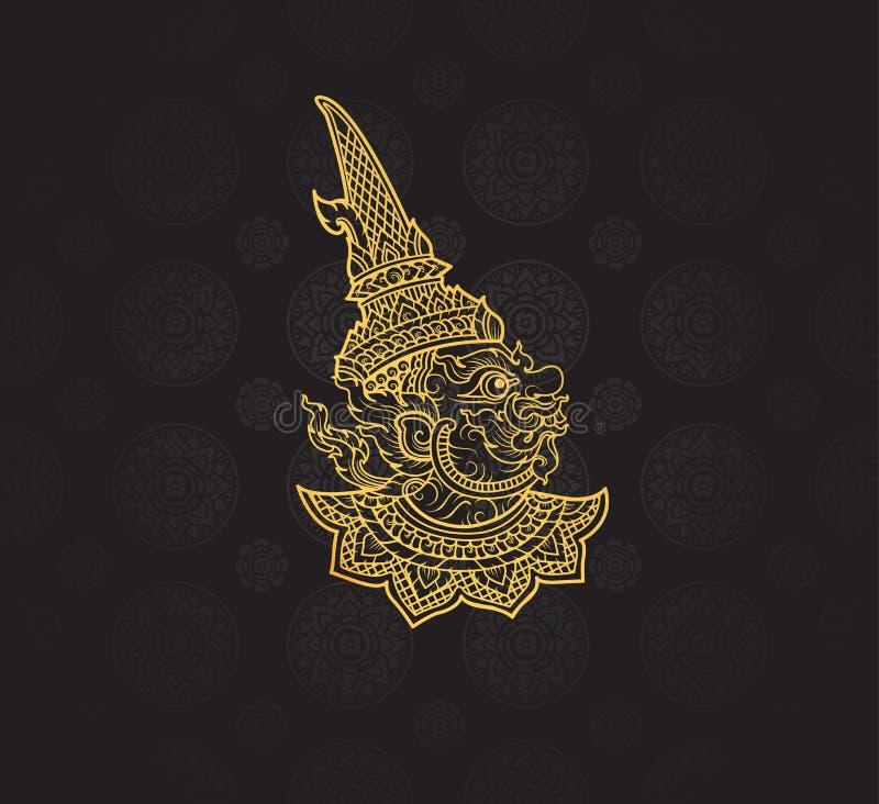 giant characters of Ramayana,Thai Art Background pattern stock illustration