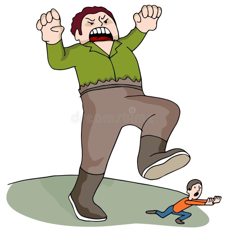 Giant Chasing Man vector illustration