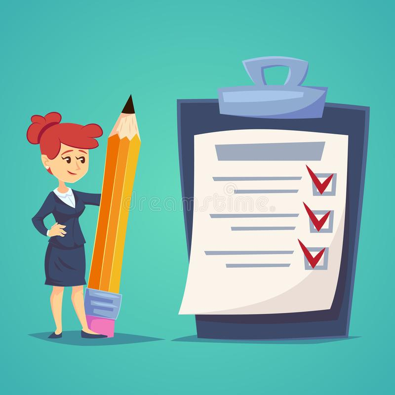 Giant check list. Young businesswoman with big list of things to be checked, items required, things to be done, office schedule re vector illustration