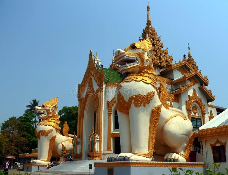 Giant Chinthe, Shwedagon Pagoda entrance Yangon Myanmar stock image