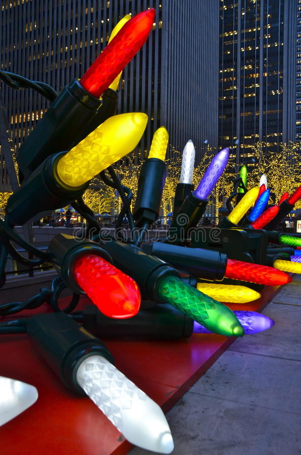 Giant Christmas Ornaments in Midtown Manhattan, NYC. Giant Christmas Ornaments in Midtown Manhattan on December 2014, New York City, USA royalty free stock images