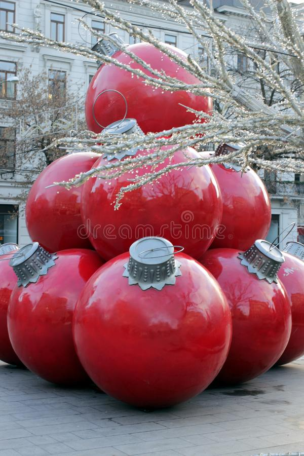 Giant City Christmas Decorations royalty free stock image