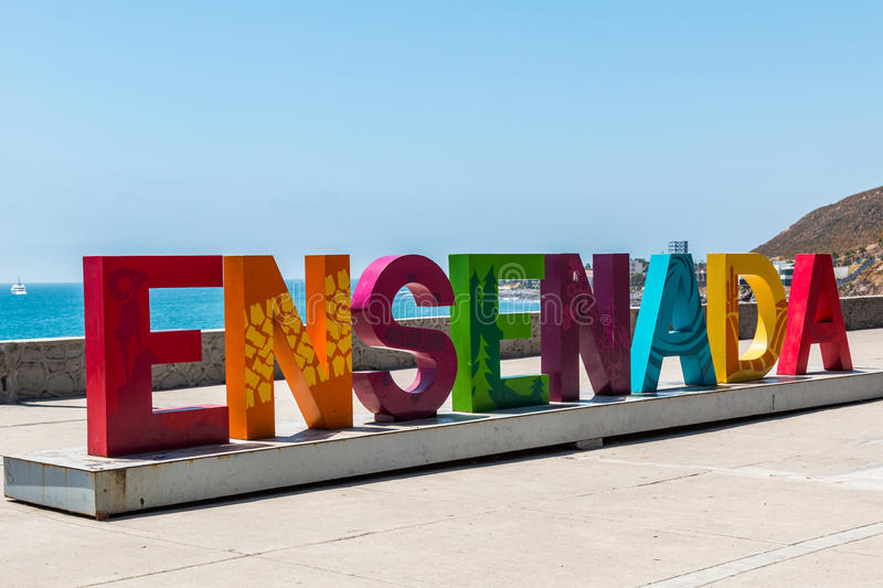 Giant Colorful Ensenada Welcome Sign stock images