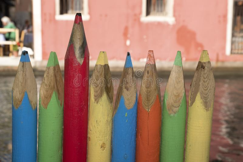 Giant colourful pencils fence in venice chioggia royalty free stock photos