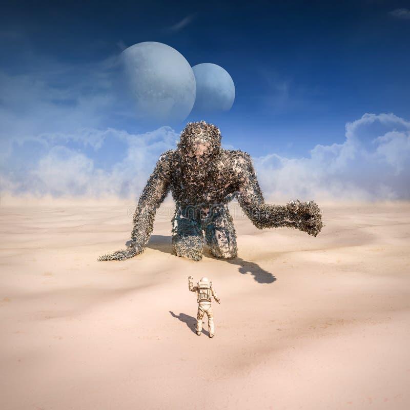 Giant in the desert stock illustration