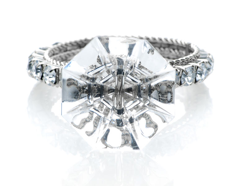 Giant diamond ring front view stock photo