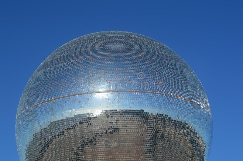 Giant Disco Glitter ball on Blackpool Promenade stock photo