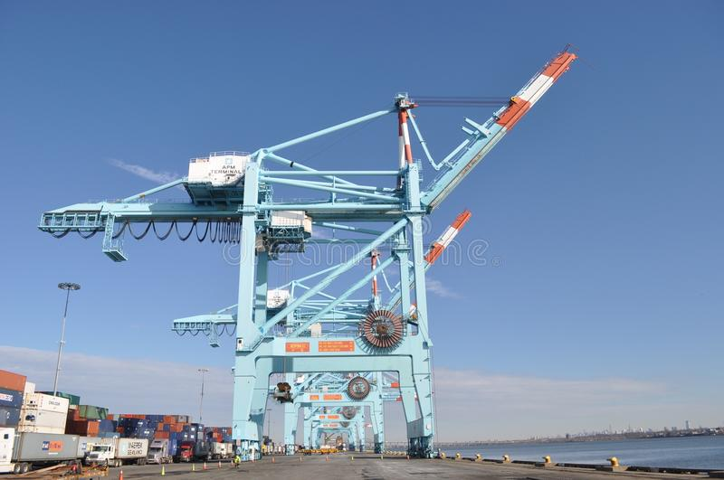 Giant dock cranes Port Newark, New Jersey royalty free stock photography