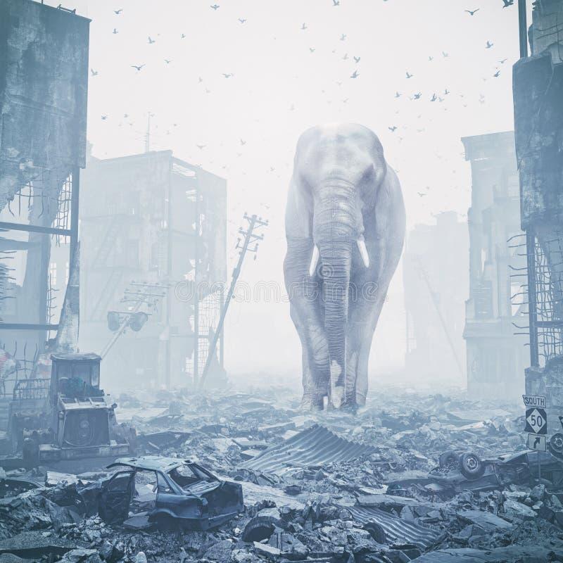 Giant elephant in destroyed city royalty free illustration