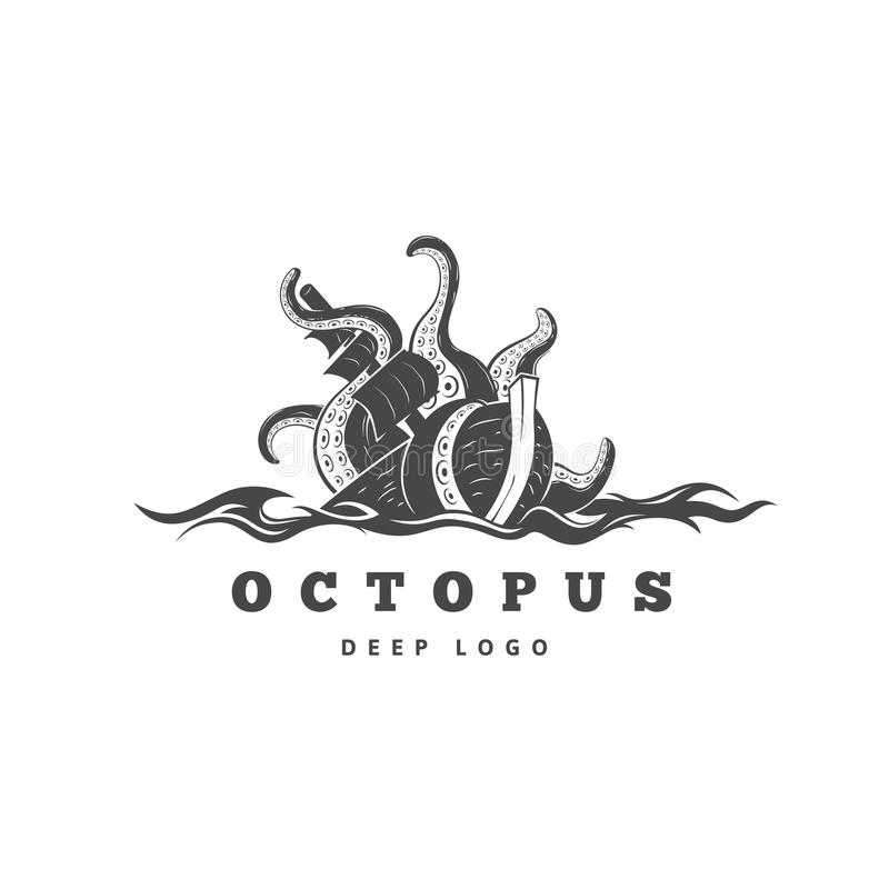 Giant evil kraken logo, silhouette octopus sea monster with tentacles stock illustration