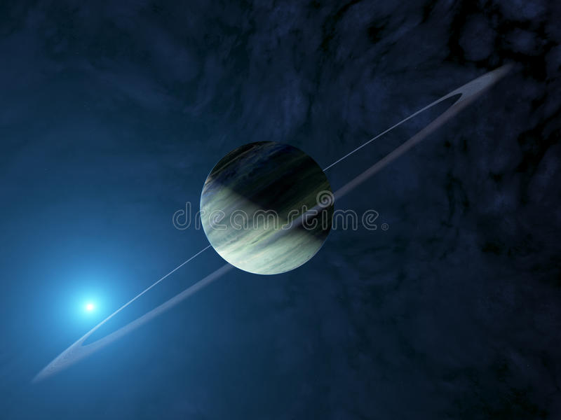 Giant extrasolar gas planet with ring system royalty free stock photo