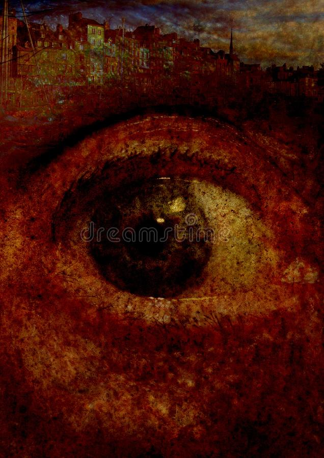 Giant eye rusty on a city dark stock illustration