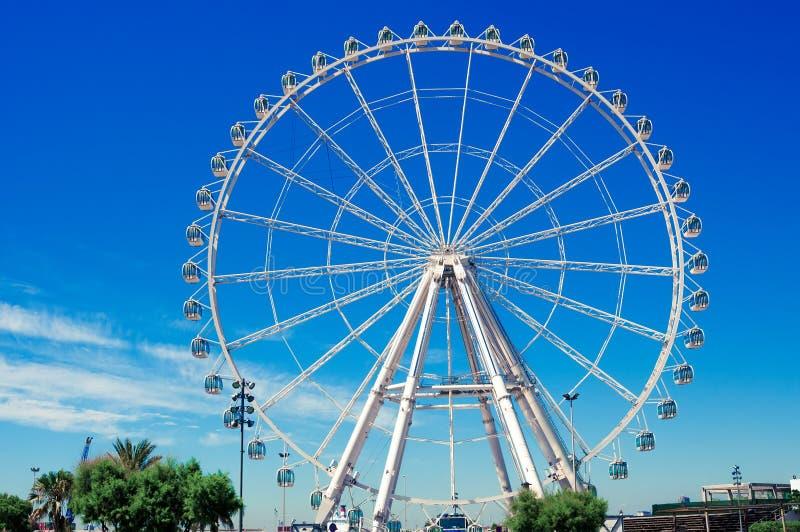 Giant Ferris Wheel in the port of Valencia, Spain. VALENCIA, SPAIN- JULY 05, 2015: Giant Ferris Wheel in the port of Valencia, Spain royalty free stock photo
