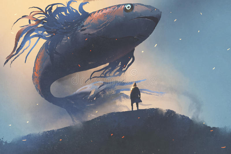 Giant fish floating in the sky above man in black cloak. Digital art style, illustration painting vector illustration