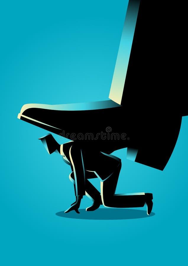 Giant foot trampling a businessman vector illustration