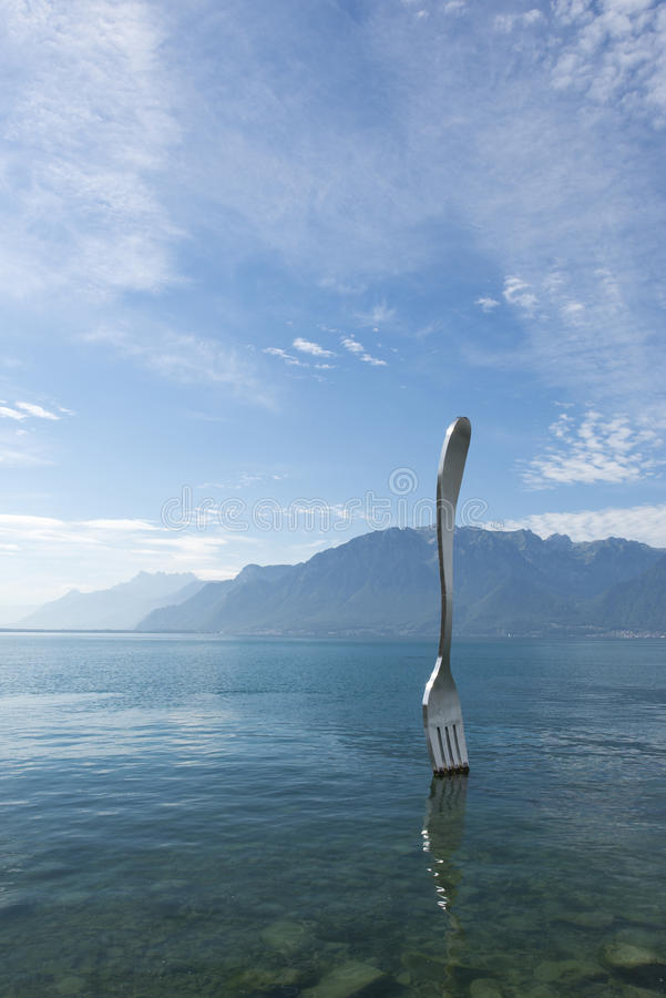 The giant fork, Vevey royalty free stock photo