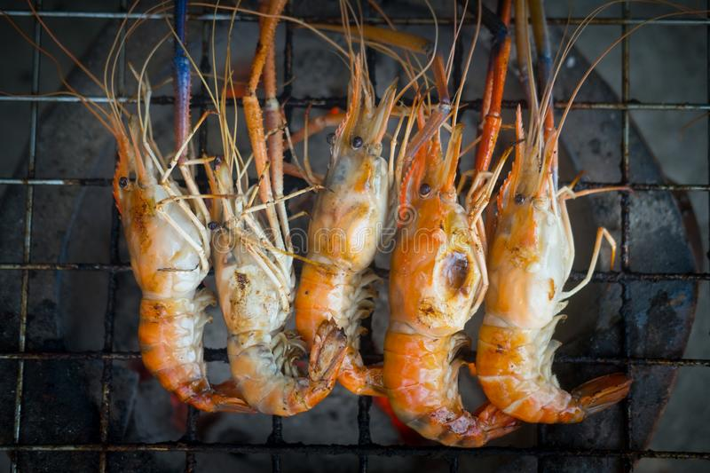 Grilled Shrimp (Giant Freshwater Prawn) At Market Stock
