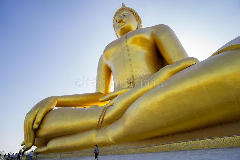Giant Golden Buddha at Wat Muang in Thailand. This is Giant Golden Buddha at Wat Muang in Thailand royalty free stock images