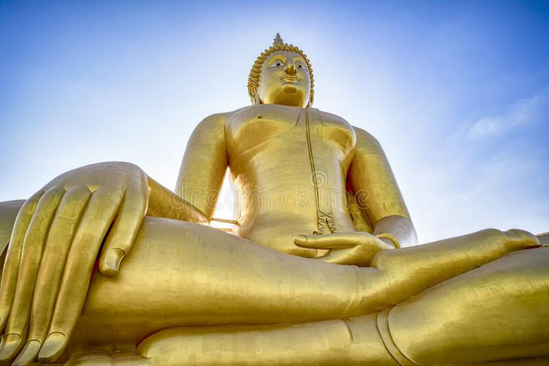 Giant Golden Buddha at Wat Muang in Thailand. This is Giant Golden Buddha at Wat Muang in Thailand royalty free stock photography