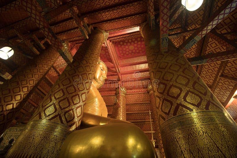 Giant golden Buddha in Wat Phanan Choeng Temple in Ayutthaya, Th royalty free stock photos
