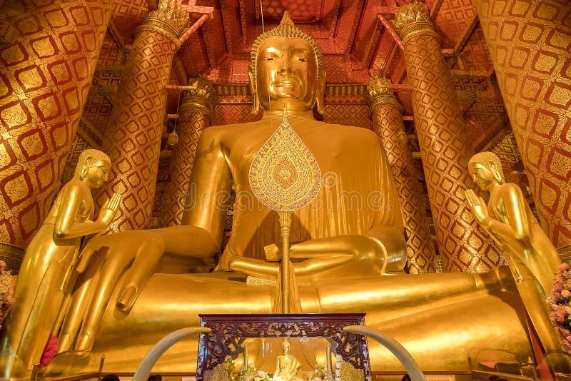 Giant golden Buddha in Wat Phanan Choeng Temple in Ayutthaya, Th royalty free stock image