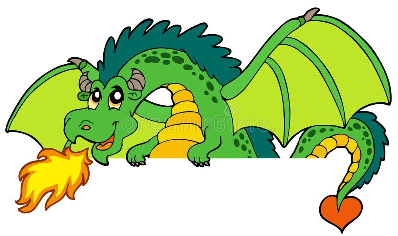 Giant green lurking dragon stock illustration