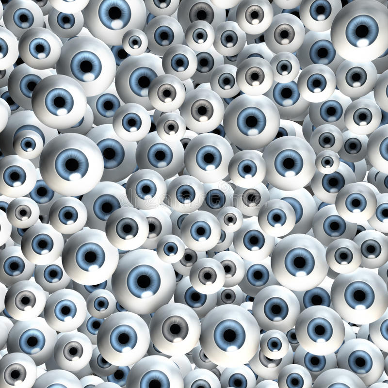 Giant group of eyes. Staring into camera, illustration, rendering, bright royalty free illustration