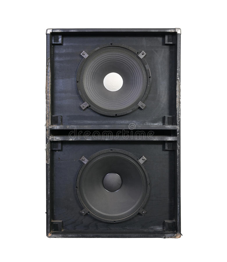 Giant Grunge Bass Speaker Cabinet. Giant 15 inch bass speakers in a thrashed grunge metal garage band cabinet. Every neighbors nightmare royalty free stock images