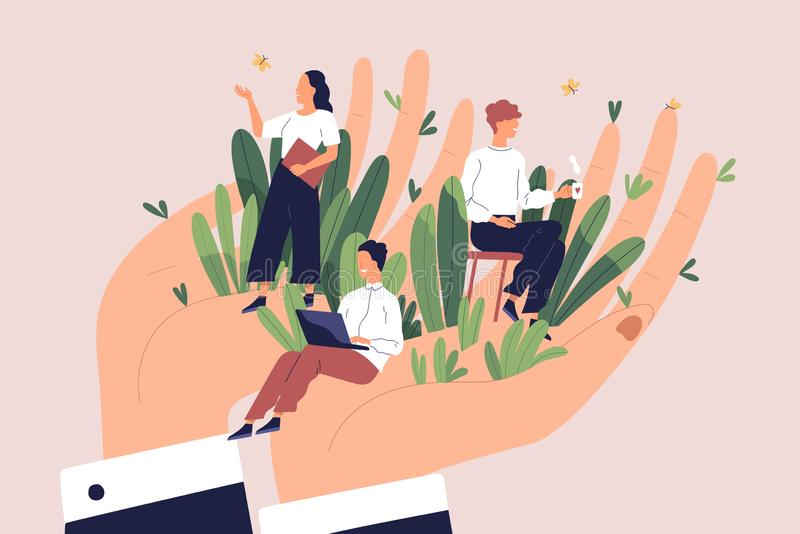 Giant hands holding tiny office workers. Concept of employee care, wellbeing at work or workplace, perks and benefits vector illustration
