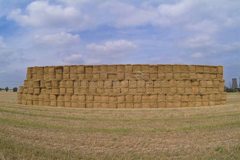 Giant haystack in field royalty free stock photos