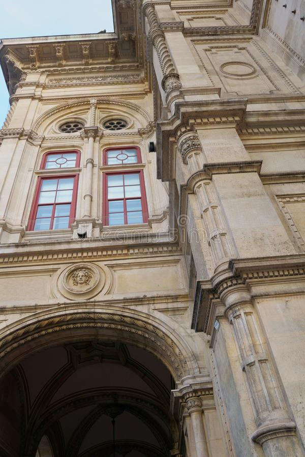Wonderful huge old buildings and churches in Vienna, Austria. Giant historic church entrance greet you in Austria with the huge old doors stock images
