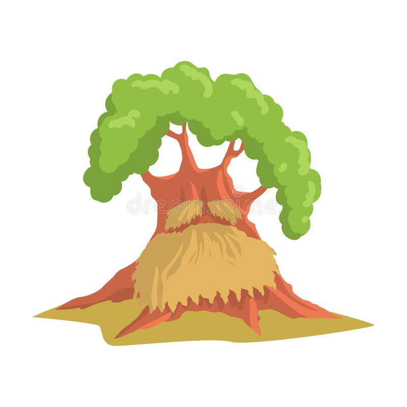Giant humanized oak with long beard. Old green forest tree. Natural landscape element. Flat vector design royalty free illustration
