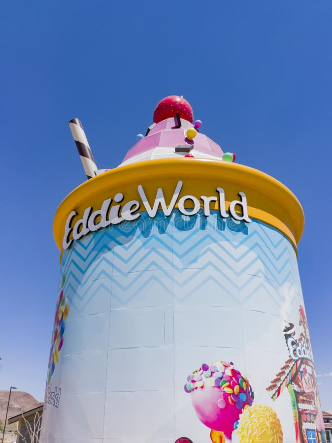 The Giant Ice Cream Sundae of Eddie World. Yermo, APR 26: The Giant Ice Cream Sundae of Eddie World on APR 26, 2019 at Yermo, California royalty free stock photography
