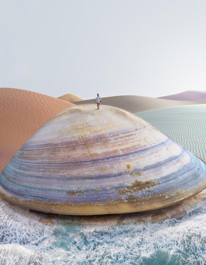 Giant imaginary clam shell in a desertic surreal landscape, ocean waves, pastel color, dreamy background stock photography