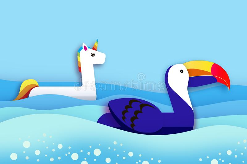 Giant inflatable Fantasy Unicorn and Toucan paper cut style. Origami Pool float toys. Crystal clear blue sea water royalty free illustration