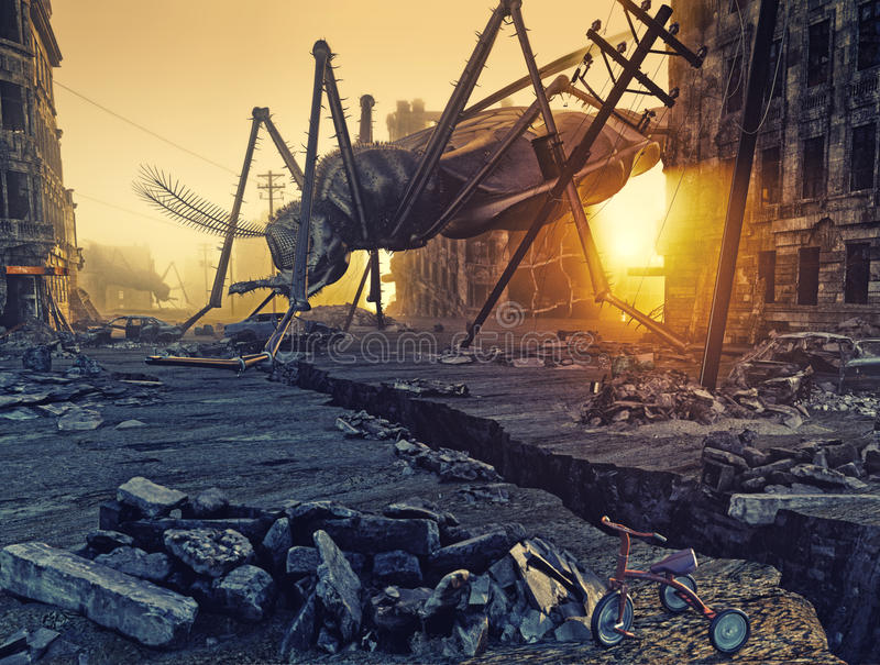 Giant insects and the city stock illustration