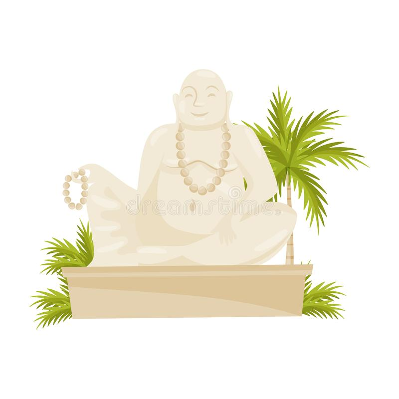 Giant laughing Buddha statue, green palm tree and leaves. Cultural symbol. Old historical monument. Flat vector design royalty free illustration
